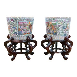 Chinese Ceramic Planters With Wooden Stand - a Pair For Sale
