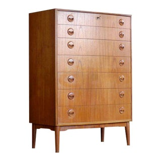 Kai Kristiansen Dresser or Chest of Drawers in Teak Danish Midcentury For Sale