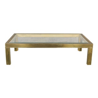 Large Modern Brass & Glass Parsons Style Coffee or Cocktail Table Style Mastercraft For Sale