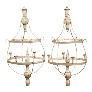 Pair of Tall French Wood and Iron Painted Girandoles Candleholders on Stand