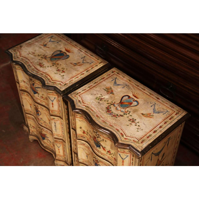 Italian 19th Century Italian Carved Chests of Drawers With Bird Painted Decor - a Pair For Sale - Image 3 of 13