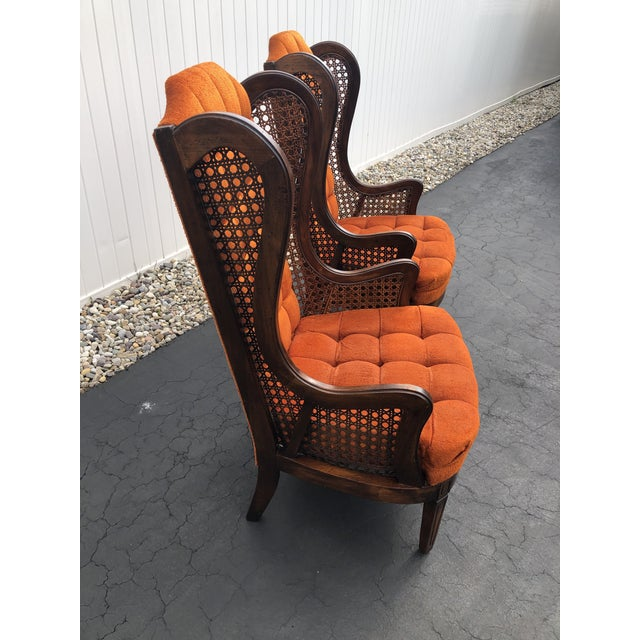 1970s Hollywood Regency Orange Velvet Canes Wingback Chairs - a Pair For Sale - Image 4 of 10