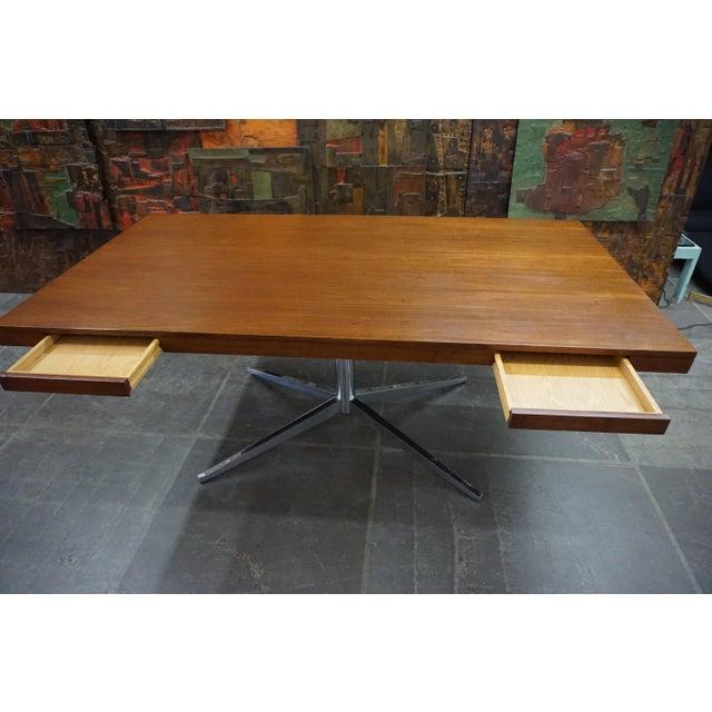 Contemporary Florence Knoll Walnut on Chrome Base Partner Desk For Sale - Image 3 of 7