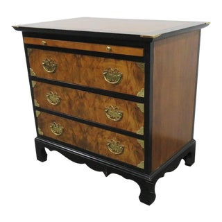 Century Furniture Burl Black Lacqurered Nightstand For Sale