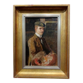 French Artist Self-Portrait - 1920s Oil Painting on Canvas For Sale
