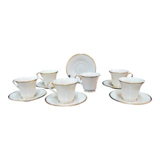 Lenox Ecru China Gold Rim Eternal Footed Cup & Saucers - Set of 6 For Sale