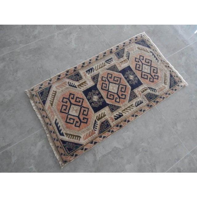 Textile 1970s Vintage Rug Hand Made Rug- 1′9″ × 3′2″ For Sale - Image 7 of 7