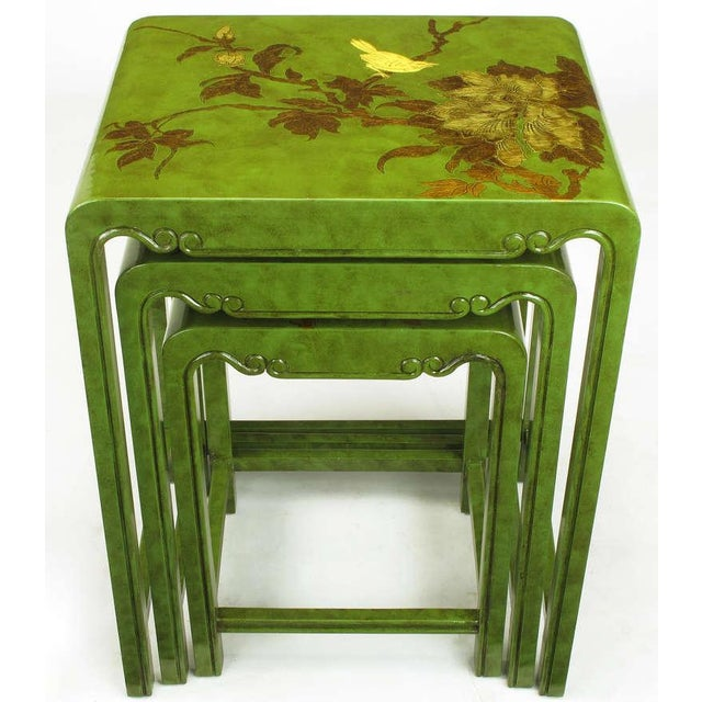 Three Embossed & Parcel Gilt Rich Jade Green Nesting Tables - Image 5 of 10
