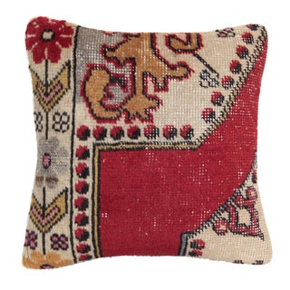 Turkish Red Color Rug Pillow For Sale