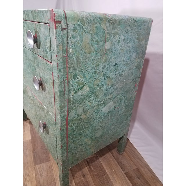 Simmons Company Furniture Simmons 3-Drawer Steel Green Granite Chest Of Drawers For Sale - Image 4 of 11
