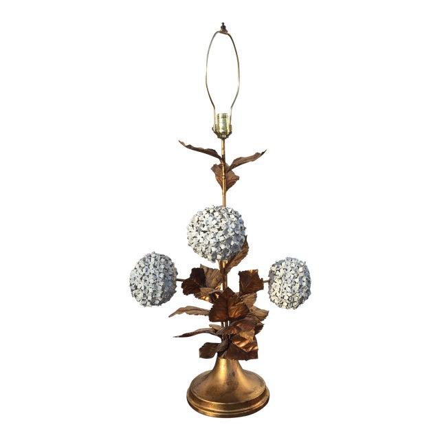 Italian Hydrangea Tole Table Lamp For Sale
