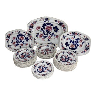 19th Century English Hand Painted China - Set of 33 For Sale