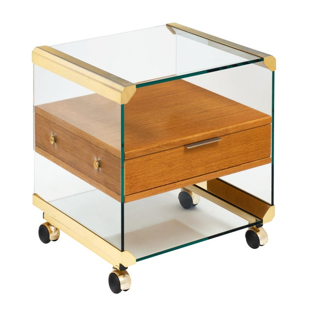 Brass and Glass Modernist Side Table For Sale