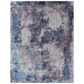 Bruges Silver/Blue Hand loom Bamboo/Silk Area Rug - 6'x9' For Sale