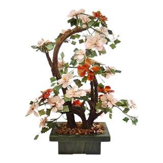 Large Vintage Chinese Flowering Jade Bonsai Tree For Sale