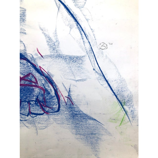 """Contemporary Figure Drawing in Blue and Violet Pastel, """"Seated Figure in Blue and Violet"""" by Artist David O. Smith For Sale - Image 10 of 12"""