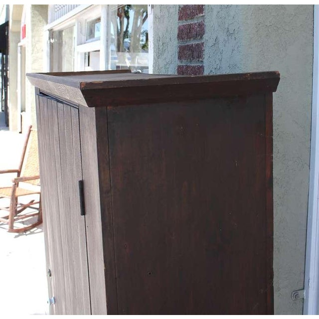 Brown Original Brown Painted 19th Century Pennsylvania Wall Cupboard For Sale - Image 8 of 9