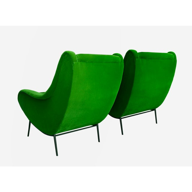 Vintage Armchairs Re-upholstered in Hardy Emerald Mohair Velvet. Black Steel Legs Refinished to high-gloss Black Lacquer....