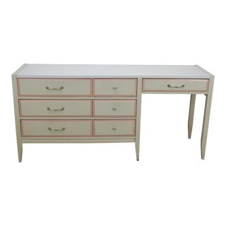 Mid-Century 7-Drawers Desk With Formica Top For Sale