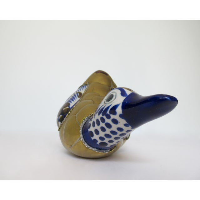 Blue Vintage Mexican Ceramic Pottery & Brass Scaled Bustemante-Style Duck For Sale - Image 8 of 13