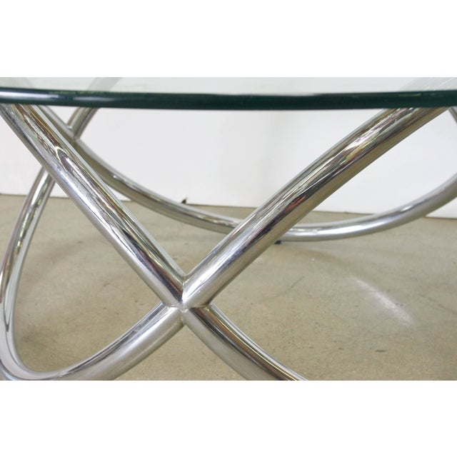 Fabio Ltd 1960s Vintage Chrome and Glass Coffee Table For Sale - Image 4 of 5