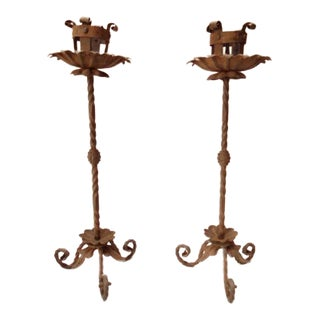 Spanish Revival Wrought Iron Candlesticks - Pair For Sale