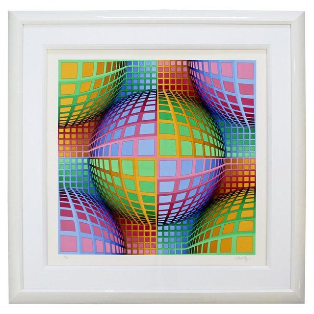 Pink Mid-Century Modern Large Pop Op Art Framed Lithograph by Victor Vasarely 275/300 For Sale - Image 8 of 8