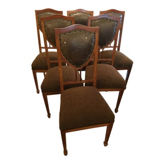 Art Nouveau Side Chairs in Leather and Mahogany For Sale
