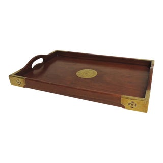 Vintage Asian Serving Tray With Brass Details For Sale