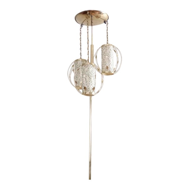 Vintage Mid-Century Gold Tension Pole Lamp For Sale