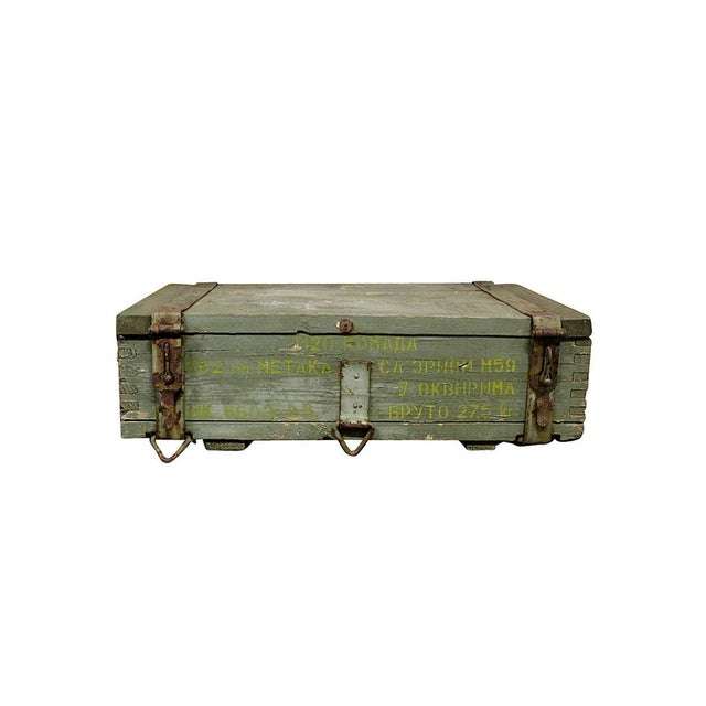 1950s Military Crate Wooden & Metal Ammo Box - Image 1 of 5