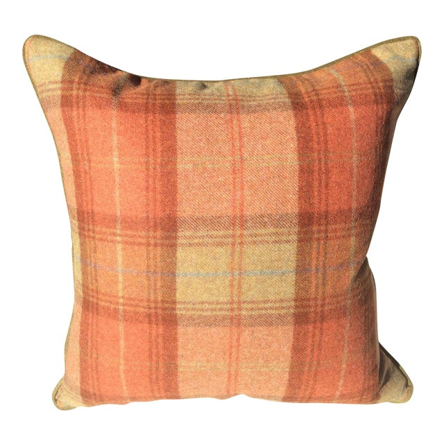 Zoffany Woodford Orange Plaid Wool & Down Pillow For Sale
