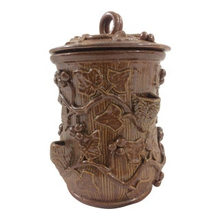 Brown French 19th Century Tobacco Jar With Berry and Ivy Details For Sale