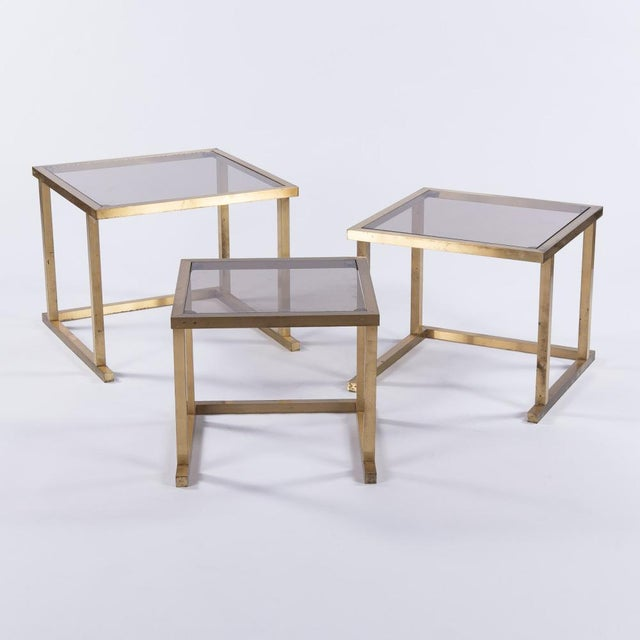 French Mid-Century Brass Nesting Tables - Set of 3 - Image 5 of 10