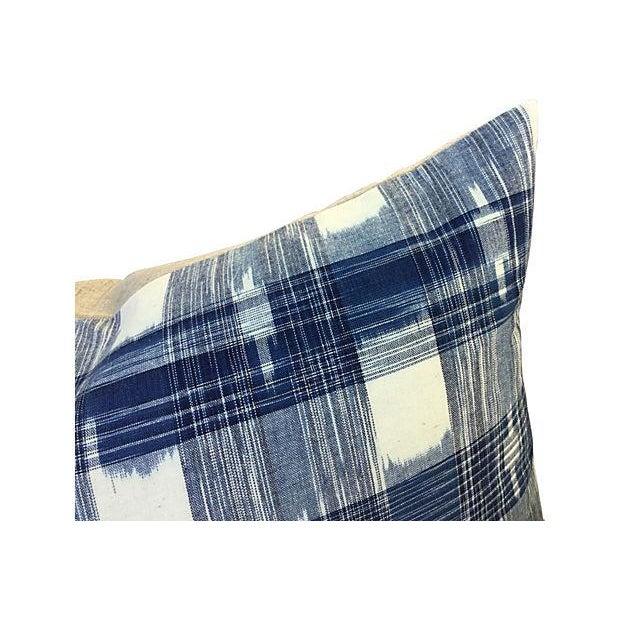 Hand Woven Indigo Ikat Pillows - Pair - Image 3 of 5