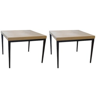 Minimalist Side Tables in French Limestone and Iron Base - a Pair For Sale