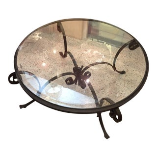 20th Century Art Deco Round Iron & Glass Cocktail Table
