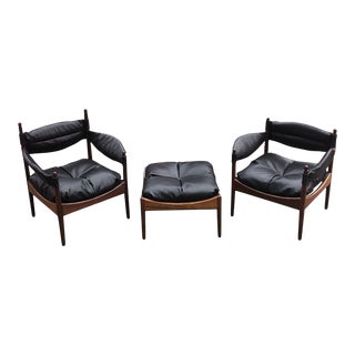 Danish Modus Armchairs & Ottoman by Kristian Vedel for Søren Willadsen, 3 Pieces For Sale