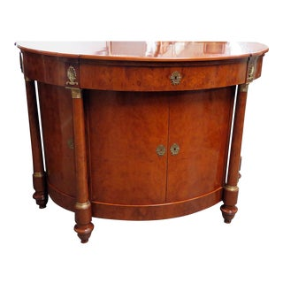 Vintage Mid Century French Empire Style Demilune Commode Buffet For Sale
