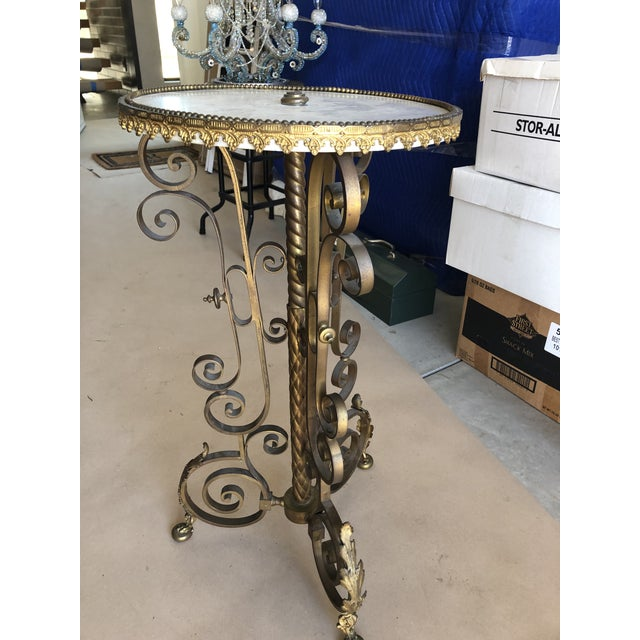 Traditional Traditional Gold Cocktail Side Table With Marble Top For Sale - Image 3 of 9