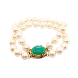 Double Strand Cultured Pearl Bracelet 18k Gold Jade Clasp For Sale