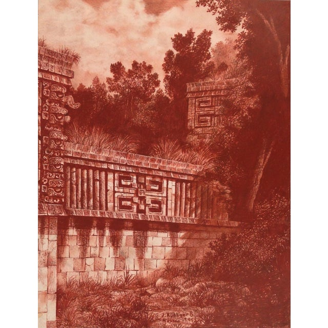 "Late 20th Century Illustration of Mayan Ruins, ""Habitat Maya No.3"" For Sale - Image 5 of 5"