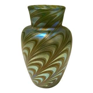 Peacock Blue Iridescent Art Glass Vase For Sale