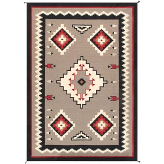 Contemporary Navajo Style Wool Area Rug - 9′10″ × 13′11″ For Sale