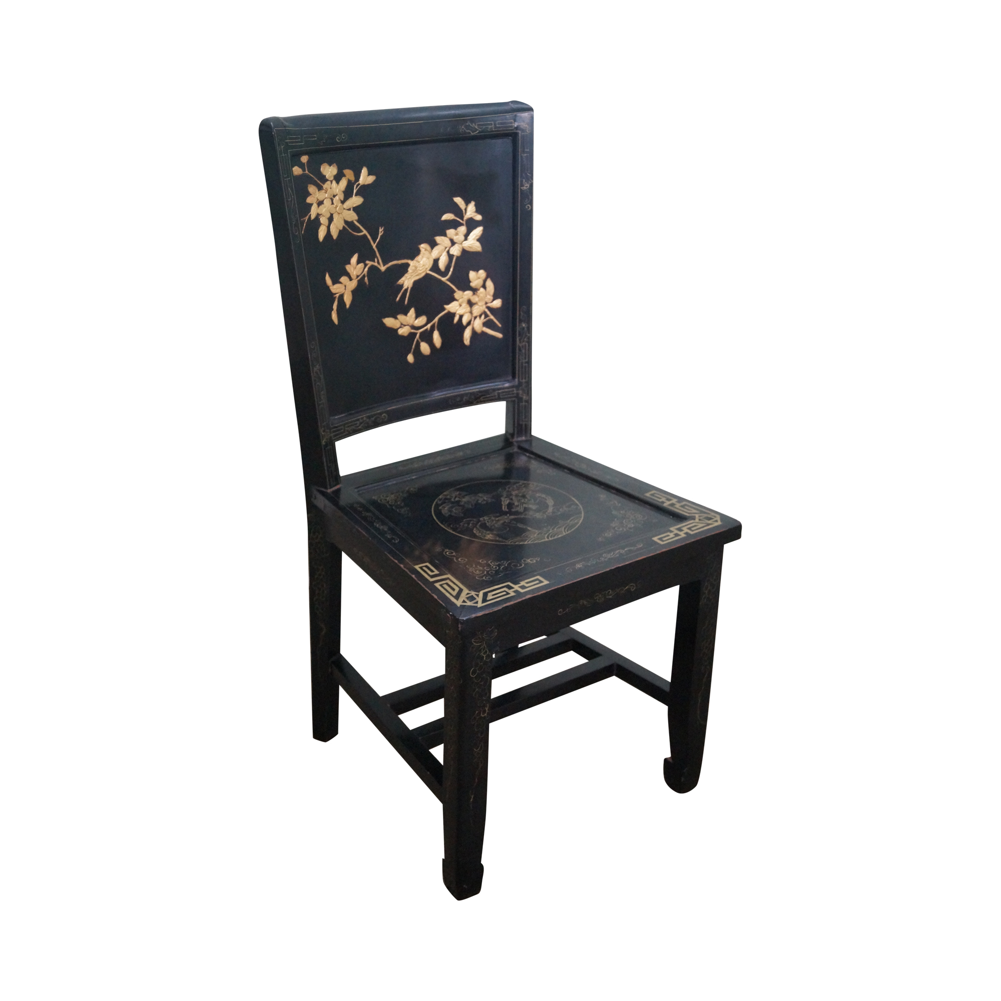 Marvelous Chinese Black Lacquer Chinoiserie Side Chair