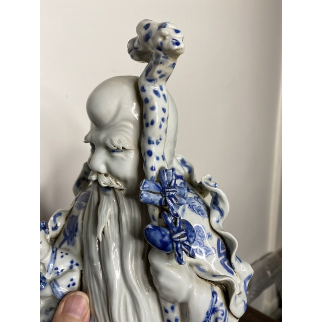 Ceramic Vintage Chinese Blue & White Figures - Set of 2 For Sale - Image 7 of 13