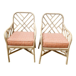 Painted Bamboo Arm Chairs - a Pair For Sale