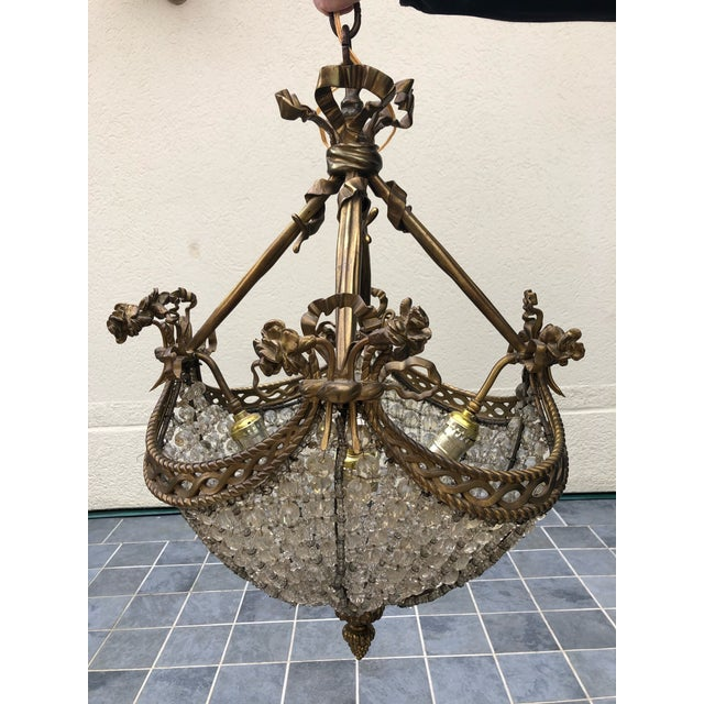 Bronze and Beaded Crystal Louis XV Style Chandelier For Sale - Image 10 of 10