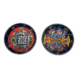 """Turkish Handmade Floral Ceramic 6"""" Bowl- Set of 2 For Sale"""