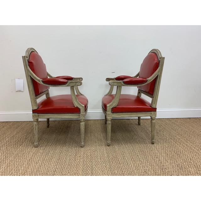 Maison Jansen 19th Century French Louis XVI Fauteuils Style Chairs - a Pair For Sale - Image 4 of 13